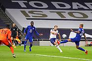 Tottenham Hotspur forward Harry Kane (10) shoots towards the goal during the EFL Cup Fourth Round match between Tottenham Hotspur and Chelsea at Tottenham Hotspur Stadium, London, United Kingdom on 29 September 2020.