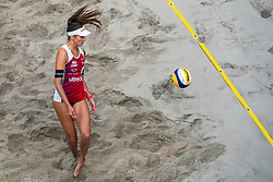 Anouk Verge Depre SUI in action during the third day of the beach volleyball event King of the Court at Jaarbeursplein on September 11, 2020 in Utrecht.