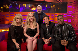 Host Graham Norton with (seated left to right) Goldie Hawn, Amy Schumer, Orlando Bloom and John Boyega during the filming of the Graham Norton Show at The London Studios, to be aired on BBC One on Friday.