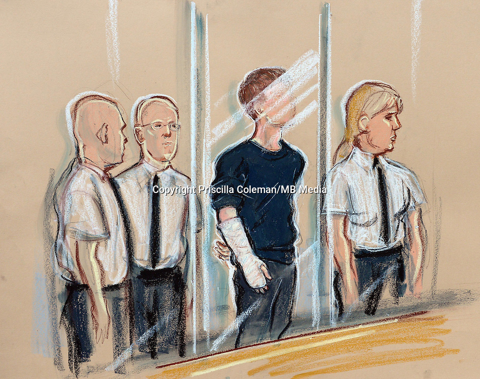 1st May 2014.. Leeds School Corpus Christi stabbing death story. Drawing by Priscilla Coleman. Court artist sketch of suspect in Leeds youth court with bandaged arm, charged with the murder of teacher Ann Maguire.