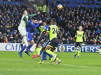 Football - 2018 / 2019 Premier League - Cardiff City vs. Huddersfield Town<br /> <br /> Neil Etheridge Cardiff City punches clear , at the Cardiff City Stadium.<br /> <br /> COLORSPORT/WINSTON BYNORTH