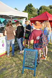 Vegan food at Bardfest, a small music festival in Bardwell, Suffolk, UK July 2019