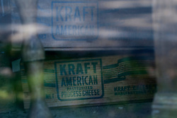 09 June 2012:   A vintage box of Kraft American Cheese sits inside the store window at the Funks Grove Country Store.