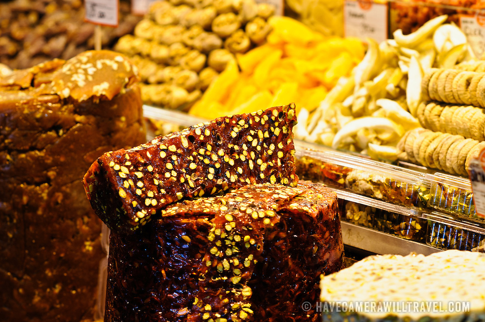 Turkish Delight and other confectionary in the Spice Bazaar (also known as the Egyption Bazaar) in Istanbul, Turkey.