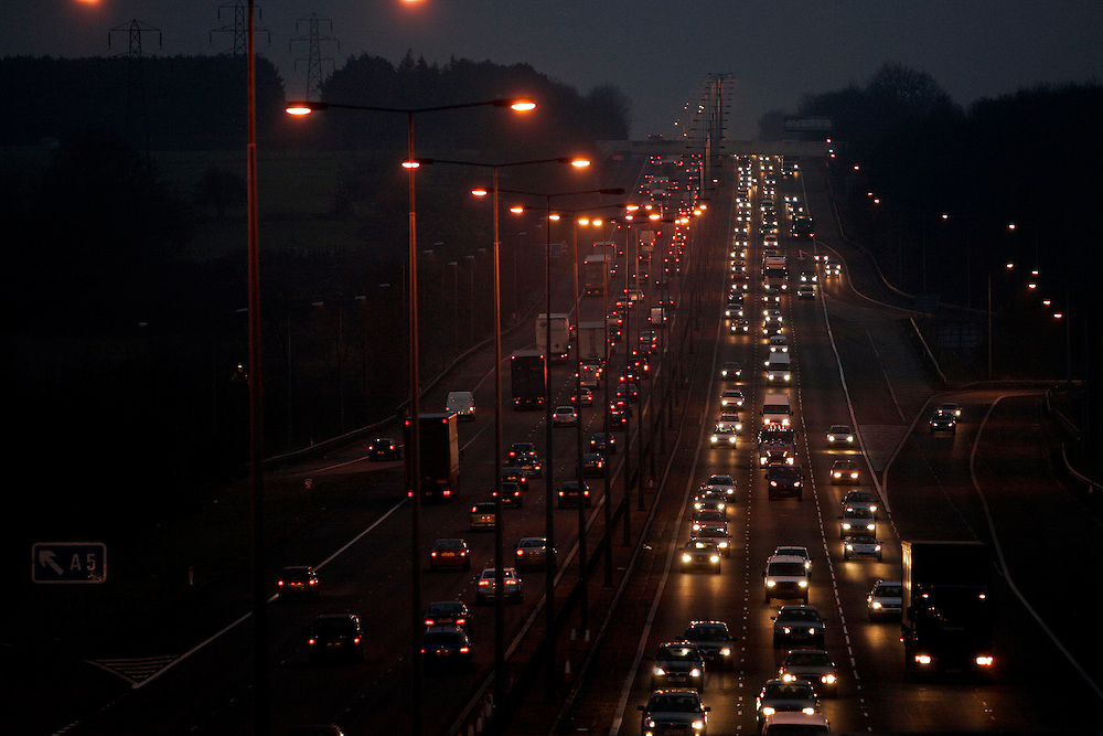 Traffic on M1 Motorway near Hertfordshire, United Kingdom.