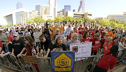 May 5, 2018 - Dallas, Texas, U.S. - Adults outnumbered the students at the student Rally4Reform protest to push for gun reform at City Hall. (Credit Image: © Max Faulkner/TNS via ZUMA Wire)