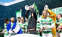 24/05/15 SCOTTISH PREMIERSHIP<br /> CELTIC v INVERNESS CT<br /> CELTIC PARK - GLASGOW<br /> Celtic manager Ronny Deila celebrates with the Scottish Premiership trophy