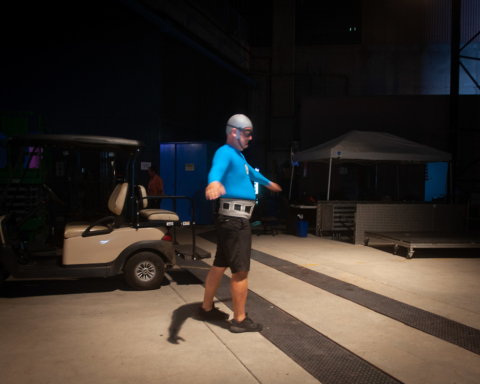 MC Bat Commander of The Aquabats! warming up at Pacific Amphitheatre August 14, 2021. (Photo by Miguel Vasconcellos, OC Fair & Event Center)