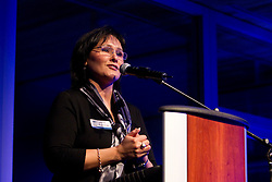 Leona Aglukkaq, federal Minister of Health, speaking at gala event at the 2010 Vancouver Olympics