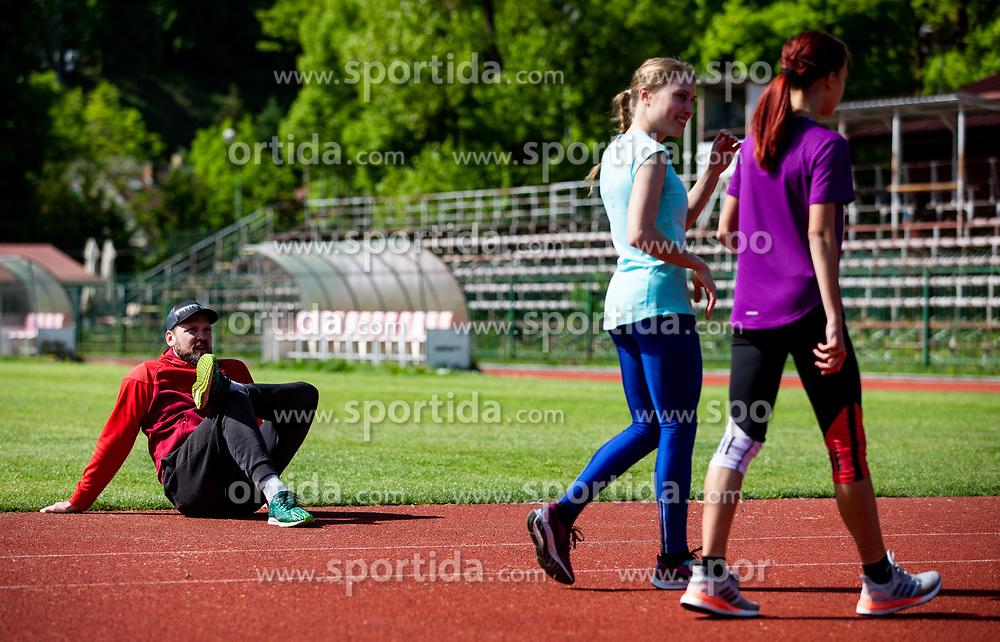 Coach Tevz Korent,  athletes Marusa Mismas Zrimsek and Klara Lukan during practice session after loosening coronavirus COVID-19 restriction, on May 3, 2020 in Stadion Kodeljevo, Ljubljana, Slovenia. Photo by Vid Ponikvar / Sportida