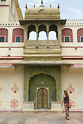 India, Rajasthan, Jaipur Mubarak Mahal sandstone palace in the City Palace complex