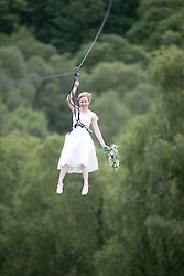 Colette Gregory after tying the knot in the trees at Go Ape Aberfoyle, heading back on the last zip wire.