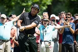 August 5, 2018 - Akron, OH, U.S. - AKRON, OH - AUGUST 05:   Phil Mickelson (USA) plays his shot from the trees on the 6th hole during the final round of the World Golf Championships - Bridgestone Invitational on August 5, 2018 at the Firestone Country Club South Course in Akron, Ohio. (Photo by Shelley Lipton/Icon Sportswire) (Credit Image: © Shelley Lipton/Icon SMI via ZUMA Press)