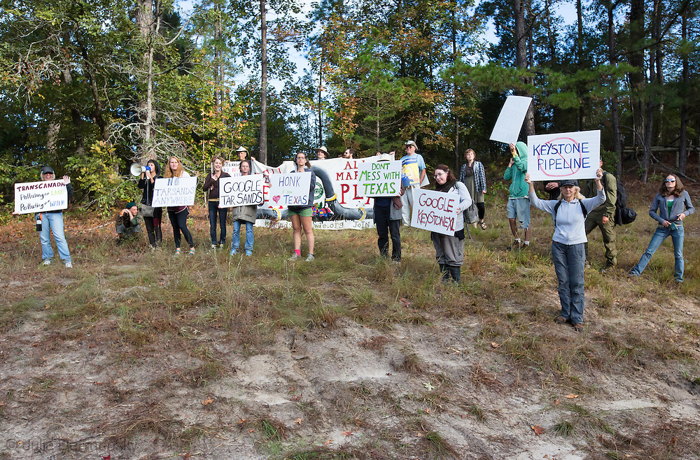 October 15th Winnsboro Texas,  Envirnemntal activists in the Tar Sands Blockade hold their largest direct action protest to date, shutting down construction on one of  TransCanada's Keystone Pipeline worksites.