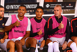 August 7, 2018 - East Rutherford, NJ, U.S. - EAST RUTHERFORD, NJ - AUGUST 07:  Roma defender Juan Jesus (5) along with Roma forward Justin Kluivert (34) and Roma defender Rick Karsdorp (2) give a thumbs up on the bench prior to the International Champions Cup game between Real Madrid and AS Roma on August 7, 2018, at Met Life Stadium in East Rutherford, NJ.  (Photo by Rich Graessle/Icon Sportswire) (Credit Image: © Rich Graessle/Icon SMI via ZUMA Press)