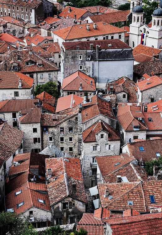Aerial view of old town Kotor, a world heritage site, Montenegro