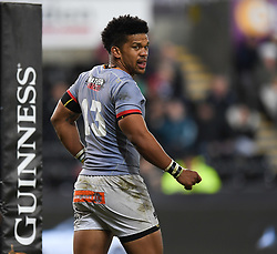 Ospreys' Kieron Fonotia<br /> <br /> Photographer Mike Jones/Replay Images<br /> <br /> Guinness PRO14 Round Round 15 - Ospreys v Southern Kings - Friday 16th February 2018 - Liberty Stadium - Swansea<br /> <br /> World Copyright © Replay Images . All rights reserved. info@replayimages.co.uk - http://replayimages.co.uk