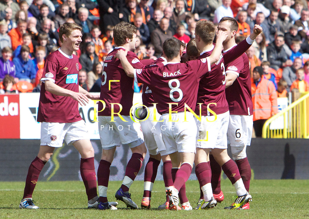 SPL Dundee United FC v  Hearts FC Scottish Premier League Season 2011-12.28-04-12...Arvydas Novikovas  of Hearts celebrates with team mates after his screamer makes it 2-2     during the Scottish premier League clash between Euro spot chasing Dundee United FC and Heart of Midlothian FC...At Tannadice Stadium, Dundee..Saturday 28th April 2012.Picture Mark Davison/ Prolens Photo Agency / PLPA