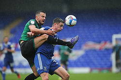 Eoghan O'Connell of Rochdale and Oliver Hawkins of Ipswich Town tussle for the ball - Mandatory by-line: Arron Gent/JMP - 26/09/2020 - FOOTBALL - Portman Road - Ipswich, England - Ipswich Town v Rochdale - Sky Bet League One