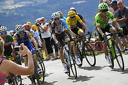 July 16, 2017 - Puy En Velay, France - LE PUY-EN-VELAY, FRANCE - JULY 16 : ARU Fabio (ITA) Rider of Astana Pro Team, MARTIN Daniel (IRL) Rider of Quick-Step Floors Cycling team, BARDET Romain (FRA) Rider of Team AG2R La Mondiale, FROOME Christopher (GBR) Rider of Team SKY and URAN URAN Rigoberto (COL) Rider of Cannondale - Drapac team pictured during stage 15 of the 104th edition of the 2017 Tour de France cycling race, a stage of 189.5 kms between Laissac-Severac l'Eglise and Le Puy-En-Velay on July 16, 2017 in Le Puy-En-Velay, France, 16/07/2017 (Credit Image: © Panoramic via ZUMA Press)