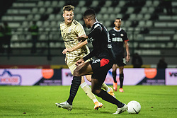 Kevin Žižek of Mura Denzel Dumfries of PSV Eindhoven during football match between NS Mura and PSV Eindhoven in Third Round of UEFA Europa League Qualifications, on September 24, 2020 in Stadium Fazanerija, Murska Sobota, Slovenia. Photo by Blaz Weindorfer / Sportida