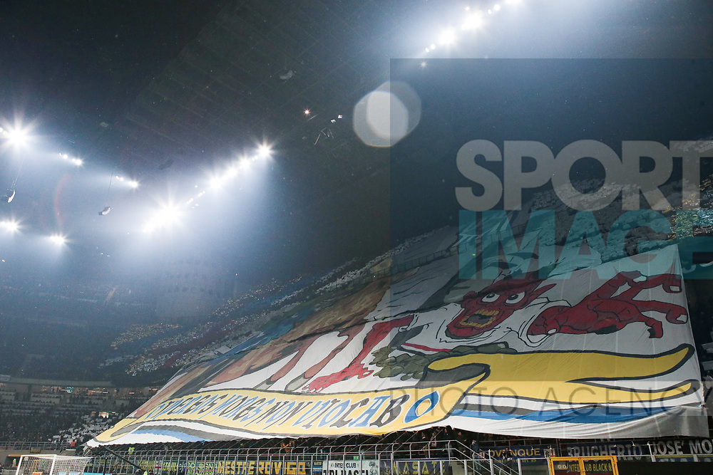 Inter fans coreography showing the latin phrase Vipereos mores non violabo ( I will non violate the Dragon's customs ) during the Serie A match at Giuseppe Meazza, Milan. Picture date: 9th February 2020. Picture credit should read: Jonathan Moscrop/Sportimage