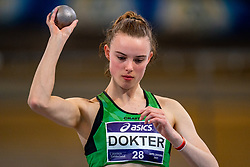 Sofie Dokter in action on shot put during the Dutch Athletics Championships on 14 February 2021 in Apeldoorn