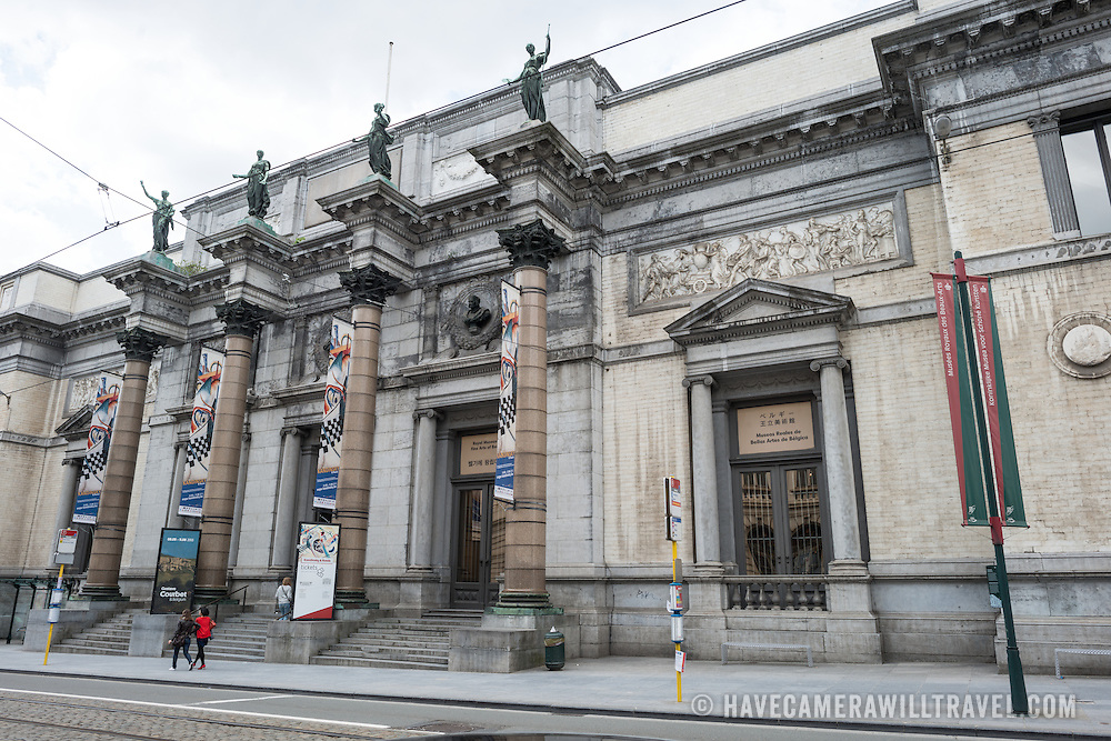 The front of the building of the Royal Museums of Fine Arts in Belgium (in French, Musées royaux des Beaux-Arts de Belgique), one of the most famous museums in Belgium. The complex consists of several museums, including Ancient Art Museum (XV - XVII century), the Modern Art Museum (XIX  XX century), the Wiertz Museum, the Meunier Museum and the Museé Magritte Museum.
