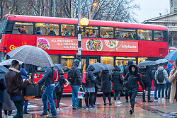 © Licensed to London News Pictures. 15/01/2020. London, UK. A gloomy start for commuters at Waterloo this morning after a stormy night as more rain and high winds are expect for Thursday 16/01/2020. Photo credit: Alex Lentati/LNP