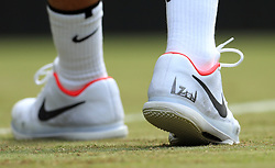 Detail on the trainers of seven time Wimbledon champion Roger Federer on day two of the Wimbledon Championships at The All England Lawn Tennis and Croquet Club, Wimbledon.