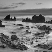 Corona Del Mar - Rocky Cove Southwest View - Dusk - Black & White