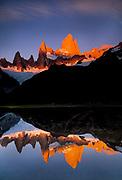 Cerro FitzRoy, dawn reflection, Los Glaciares National Park, Patagonia, Argentina.