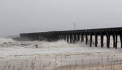 View of the city pier early morning in Panama City Beach, as Florida's Panhandle prepares for its worst hurricane strike in at least a decade as Michael gained power overnight, on track to strike somewhere near Panama City Wednesday afternoon, Oct. 10, 2018. Photo by Pedro Portal/Miami Herald/TNS/ABACAPRESS.COM
