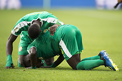 June 19, 2018 - Moscow - Idrissa Gana Gueye and Cheikhou Kouyate of Senegal celebrate after the 2018 FIFA World Cup Group H match between Poland and Senegal at Spartak Stadium in Moscow, Russia on June 19, 2018  (Credit Image: © Andrew Surma/NurPhoto via ZUMA Press)