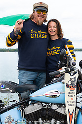 CCC event promoters Lee Ann and Jason Sims with their 1946 Harley-Davidson Model U Flathead in Aune Osborne Park in Sault Sainte Marie, the site of the official start of the Cross Country Chase motorcycle endurance run from Sault Sainte Marie, MI to Key West, FL. (for vintage bikes from 1930-1948). Thursday, September 5, 2019. Photography ©2019 Michael Lichter.