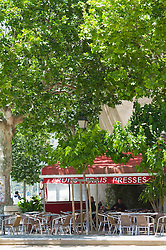 Cafe chairs trees shade Saint Florent Corsica