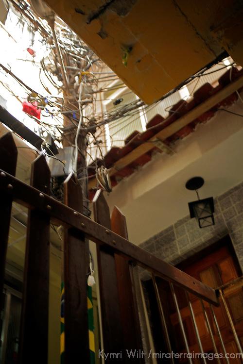 South America, Brazil, Rio de Janeiro. Electricity for Favela of Vila Canoas.