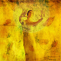 """""""The soul is not in the body;<br /> the body is in the soul.""""<br /> <br /> -Hildegard von Bingen<br /> <br /> Just as a circle embraces all that is within it, so does the God-head embrace all. No one has the power to divide this circle, to surpass it, or to limit it.<br /> Hildegard of Bingen<br /> <br /> """"The truly holy person welcomes all that is earthly."""" -Hildegard of Bingen<br /> <br /> .................................................................<br /> <br /> <br /> """"One of the most calming and powerful actions you can do to intervene in a stormy world is to stand up and show your soul.""""<br /> ― Clarissa Pinkola Estés<br /> <br /> :::::::::::::::::::::::::::::::::::::::::::::::::::::::::::::::<br /> <br /> <br /> Woman in visualization metaphor. Photo based mixed medium illustration."""