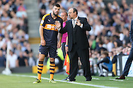 Rafa Benitez, the Newcastle United manager talking to Grant Hanley of Newcastle United on the touchline. Skybet EFL championship match, Fulham v Newcastle Utd at Craven Cottage in Fulham, London on Friday 5th August 2016.<br /> pic by John Patrick Fletcher, Andrew Orchard sports photography.