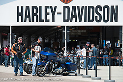 Test rides of the 2015 Harley-Davidson lineup are popular this week as they took off from the Harley-Davidson display at Daytona International Speedway during Daytona Bike Week 2015. FL, USA. Monday March 9, 2015.  Photography ©2015 Michael Lichter.