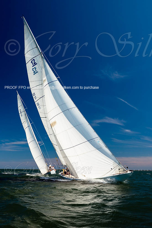 Weatherly and Columbia sailing in the Nantucket 12 Metre Regatta.
