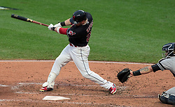 October 6, 2017 - Cleveland, OH, USA - The Cleveland Indians' Jason Kipnis singles with the bases loaded to drive in a run in the second inning against the New York Yankees during Game 2 of the American League Division Series, Friday, Oct. 6, 2017, at Progressive Field in Cleveland. (Credit Image: © Mike Cardew/TNS via ZUMA Wire)