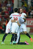 Sevilla's players celebs the goal of Bacca during the match between Sevilla FC and Villarreal day 9 spanish  BBVA League 2014-2015 day 5, played at Sanchez Pizjuan stadium in Seville, Spain. (PHOTO: CARLOS BOUZA / BOUZA PRESS / ALTER PHOTOS)
