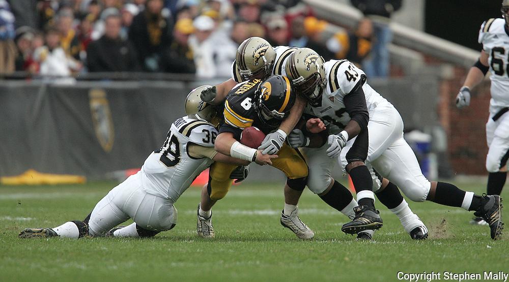 17 NOVEMBER 2007: Iowa quarterback Jake Christensen (6) is hit by the Western Michigan defense during the first half of Western Michigan's 28-19 win over Iowa at Kinnick Stadium in Iowa City, Iowa on November 17, 2007.