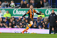 Andrew Robertson of Hull City crosses the ball. Premier league match, Everton v Hull city at Goodison Park in Liverpool, Merseyside on Saturday 18th March 2017.<br /> pic by Chris Stading, Andrew Orchard sports photography.