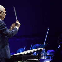 James Newton Howard american movie theme composer, musician and songwriter conducts the orchestra during his 3 Decades of Hollywood Music tour in Budapest, Hungary on Nov. 5, 2017. ATTILA VOLGYI