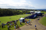 January 09 2016: Dustin Johnson and Bill Haas arrive to the eighteenth green during the Third Round of the Hyundai Tournament of Champions at Kapalua Plantation Course on Maui, HI. (Photo by Aric Becker)