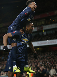 BRITAIN-LONDON-FOOTBALL-FA CUP-ARSENAL VS MAN UNITED.(190125) -- LONDON, Jan. 25, 2019  Manchester United's Anthony Martial (Below) celebrates with Manchester United's Jesse Lingard after scoring during the FA Cup fourth round match between Arsenal and Manchester United at the Emirates Stadium in London, Britain on Jan. 25, 2019. Manchester United won 3-1.  FOR EDITORIAL USE ONLY. NOT FOR SALE FOR MARKETING OR ADVERTISING CAMPAIGNS. NO USE WITH UNAUTHORIZED AUDIO, VIDEO, DATA, FIXTURE LISTS, CLUBLEAGUE LOGOS OR ''LIVE'' SERVICES. ONLINE IN-MATCH USE LIMITED TO 45 IMAGES, NO VIDEO EMULATION. NO USE IN BETTING, GAMES OR SINGLE CLUBLEAGUEPLAYER PUBLICATIONS. (Credit Image: © Xinhua via ZUMA Wire)