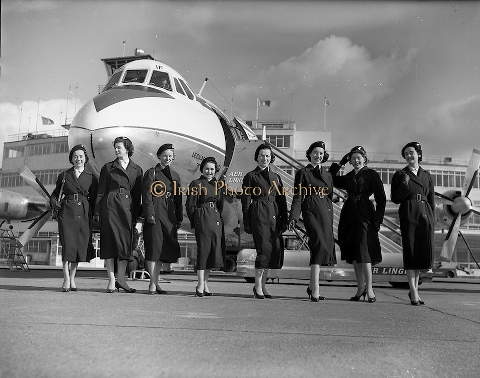 """06/03/1958<br /> 03/06/1958<br /> 06 March 1958<br /> Aer Lingus Air Hostess's at Dublin Airport. The aircraft is KLM Viscount c/n 177, PH-VIF """"Leonardo da Vinci'. The plane finished its career with Aer Lingus. uniform,"""