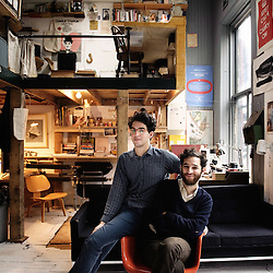 Josh and Benny Safdie at their Redbuckets films office in the neighboor of Tribeca, New York. 2009, June 18th. Photo: Antoine Doyen